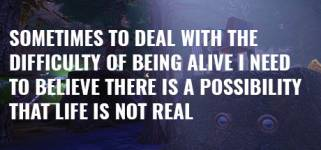 Sometimes to Deal with the Difficulty of Being Alive, I Need to Believe There Is a Possibility That Life Is Not Real.